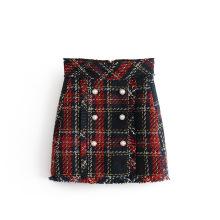Woolen Multi Plaid A-line Mini Short Womem