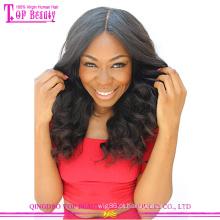 Cabelo humano elegante 4x4 seda superior peruca parte média superior de seda do laço peruca dianteira do laço