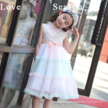 XXLF214 real sample dress sleeveless kids for girl designer with belt flower girl dress
