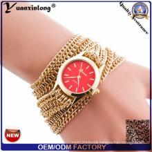 Yxl-778 Geneva Brand Long Chain Strap Quartz Wristband Wtch Lady Watch Gold