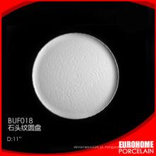 Placa de cerâmica/porcelana rasa fundido vidro redondo porcelana fundida de placa redonda placa