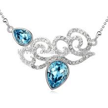 Collier de mariage italien Collier de saphir bleu bijoux de mariée en or blanc
