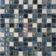 Dark Blue Glass Crystal Marble Mosaic Tile (CS237)