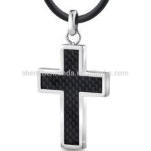 Stainless Steel Jewelry Carbon Fiber Pendant for Men Cross Pendant Manufacture