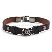 Hot vendendo couro retro bracelete de couro personalizado crânio pulseira para homens