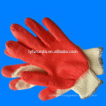 10 gauge poly cotton lined knitted working gloves coated with red latex palm