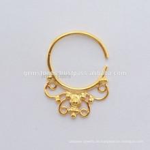 Gold überzogener Septum Piercing Nasenring, ethnischer Septum Ring, handgemachter Körper Schmuck Hersteller