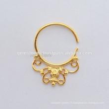 Bague plaquée or Septum Piercing, anneau ethnique Septum, fabricant de bijoux artisanaux pour le corps