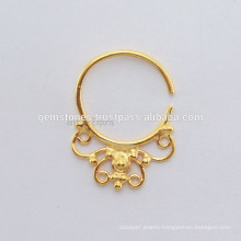 Gold Plated Septum Piercing Nose Ring, Ethnic Septum Ring, Handmade Body Jewelry manufacturer