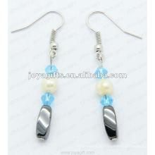 Magnetische Hämatit Twist Perlen Ohrringe