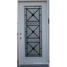 Full Lite vidro inserido porta de entrada de aço de restaurante