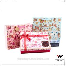 2018 custom made luxury ribbon bow kraft paper gift paper box
