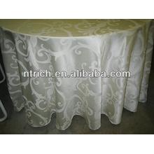 autour de 2015 vente chaude haute qualité polyester nappe jacquard pour banquet de mariage