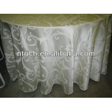 2015 hot sale high quality round polyester jacquard table cloth for wedding banquet