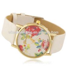 Senhoras pulseira relógio de couro de discagem flor
