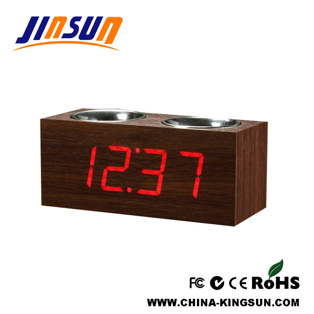 Double Penholder With Led Clock