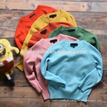 Crianças de inverno O pescoço solto puro cor tecidos de tricô camisola de caxemira