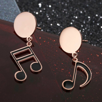 Ny Design Rose Gold Music Note Örhängen