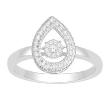 Anel de prata esterlina 925 com jóias de diamante de dança