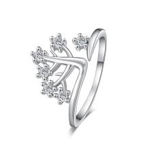 Cristal de plata de 18 quilates chapado en oro nupcial collar pendiente pulsera anillo joyería conjunto