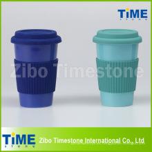 Taza de viaje esmaltada de cerámica con tapa y correa de silicona