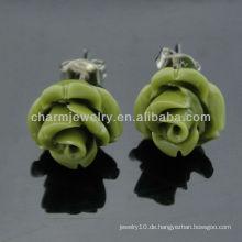 2013 farbgefärbte simulierte Koralle geschnitzte Rosen-Blumen-Ohrringe EF-007