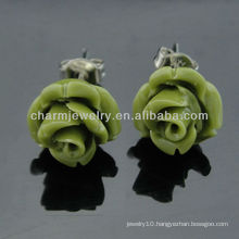 2013 Color Dyed Simulated Coral Carved Rose Flower Earrings EF-007