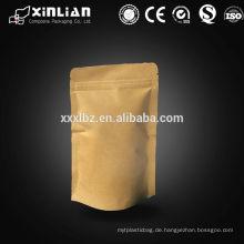 Food grade bedruckte braune ziplock stehen auf natürliche Kraftpapier Tasche