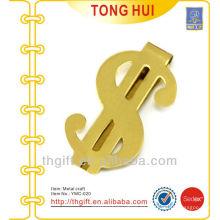 Metal Gold $ symbol latón dinero clips