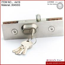 Fechadura de porta de vidro sem armação de aço inoxidável de alta qualidade