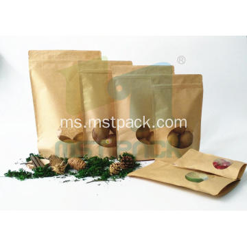 Kraft Paper Stand Up Bag Dengan Window Jelas