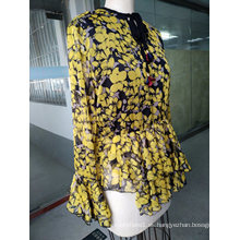 La última moda de la mujer floral delicada Top de primavera