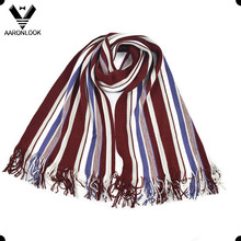 Men′s Fashion Colorful Stripe Warp Knitted Scarf