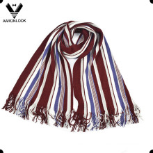 Men's Fashion colorido Stripe Warp malha cachecol
