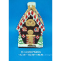 Hand-Painted Ceramic House Tealight Holder