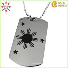 Stainless Steel Men′s Brushed and Polished Sun Dog Tag Necklace