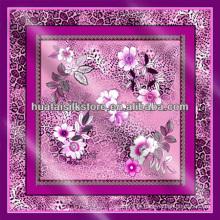 100% seda Turky leopardo floral cachecol