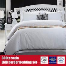 100% Baumwolle 300TC Satin EMB Border Bettwäsche Bettwäsche Set