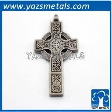 antique silver metal cross pendant