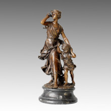 Classical Bronze Sculpture Figure Mother-Girl Rain Deco Brass Statue TPE-014