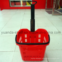 Plastic Rolling Shopping Wheel Trolley Basket for Supermarket