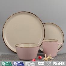 Vajilla de cerámica esmaltada de color rosa (conjunto)