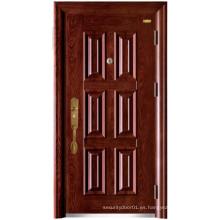 Puerta de seguridad con panel de nuez roja de seis paneles