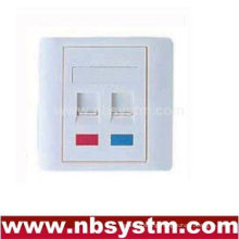 86 type faceplate 86x86mm angled,two port with color lcom&angled shutter