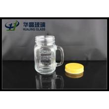 16oz 480ml verre Mason Jar avec poignée et couvercle à vis