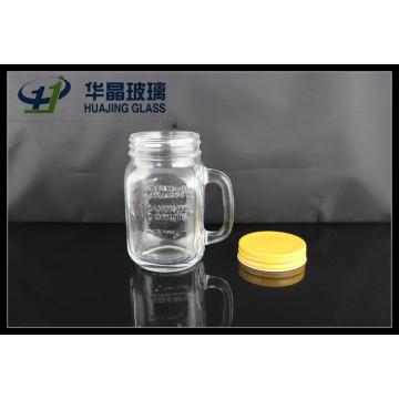 16oz 480ml pote de vidro com alça e tampa de parafuso