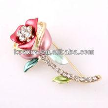 Rose shaped rhinestone pin brooch