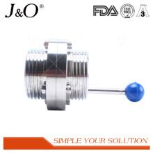 Válvula de borboleta de fio macho sanitário com alça de aço inoxidável