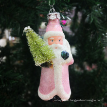 Manufacturers promotional Hand blown craft Christmas glass Santa Claus ornament hanging Holiday decorations Party Supplies
