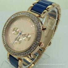 Relógio de pulso luxuoso do tipo de quartzo e do material da liga com impermeável